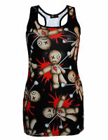 Womens Girls Black Voodoo Doll Goth Wiccan Emo Punk Long Vest Top Racer Back