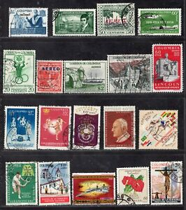 COLOMBIA AIR MAIL NINETEEN STAMPS USED