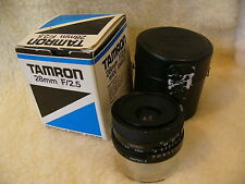 Tamron Adaptall 2 lens 28mm f2.5 Superb in every way fast with case and boxed