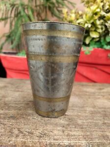 Antique Old Rare Hand Carved Brass Leaf Engraved Lassi Glass Nickle Plated Cup