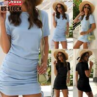 US Women's Sexy Round Neck Mini Dress Lace Up Short Sleeve Party Bodycon Dresses