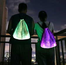 LED Light up Backpack Luminous Drawstring Bag for Rave Music Festival Party Club