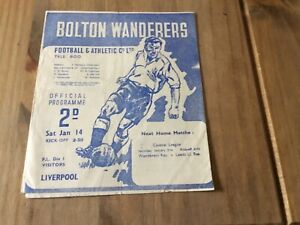 BOLTON WANDERERS V LIVERPOOL 1949-1950 FIRST DIVISION RARE