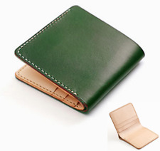 men women wallet purse cow Leather Card Cases ID bag Bifold customize green Z641