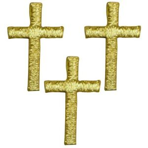 "Mini Cross Applique Patch - Gold Religious Jesus Badge 1"" (3-Pack, Iron on)"