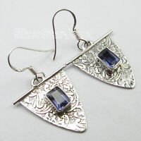 "925 Sterling Silver 5 x 7 mm Cut Iolite 2.4 Ct Dangle Earrings 1.5"" 3.9 Grams"