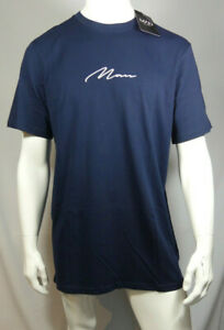Mens MAN Signature Embroidered Longline T-Shirt Size S - XL MTJul24-8