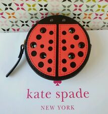 NEW Kate Spade Turn Over A New Leaf Lady Bug Coin Purse in Black/Geranium Red.