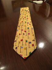 Alynn Neckwear Tie Golf 18 Hole Course 100% Silk Handmade Yellow
