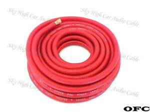 4 Gauge AWG OFC RED  Power Ground Wire Sky High Car Audio Sold By The Foot ft-