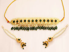 Indian Nizam Jewellery Green Choker Necklace Earrings Ethnic Fashion Jewelry Set