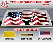 AMERICAN FLAG DEER PICK-UP TRUCK REAR WINDOW GRAPHIC DECAL PERFORATED VINYL