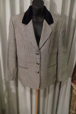VINTAGE 70'S ~  FLETCHER JONES ~ Houndstooth/Velvet Trim JACKET * Size 14 *
