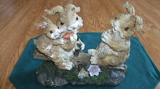 New listing Garden Statues Bunnie Rabbits playing on Teeter totter -Yard Art- Decor