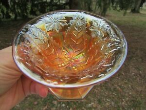 Millersburg LEAF & LITTLE FLOWERS ANTIQUE CARNIVAL GLASS COMPOTE~RADIUM MARIGOLD