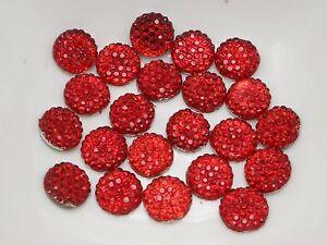 "200 Red Round Flatback Resin Dotted Rhinestone Gem Beads 8mm(0.31"")"