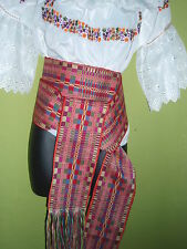 """MEXICAN TAPESTRY HAND WOVEN COTTON DOUBLE BELT WIDE STRIPE SASH 5"""" W x 86"""" # 15"""