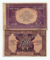 French Indochina P 90 20 Cents AU Condition Rare Banknote Paper Money