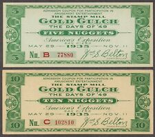San Diego Expo - 1935 Scrip (2) - Gold Gulch Stamp Mill - 5 & 10 Nuggets