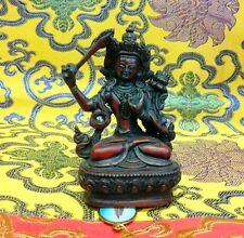MANJUSHIRI WISDOM BUDDHA Tibetan Statue Handmade from Nepal Resin 4.5 Inch