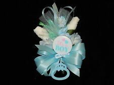 Baby Shower Corsage Blue With  Its A Boy Rattle  Handmade