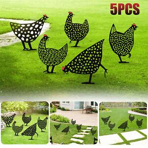 5PCS Chicken Yard Art Outdoor Garden Backyard Lawn Stakes Acrylic Hen Home Decor