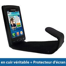 Noir Etui Housse Case Cover Cuir Véritable pour Samsung Wave 2 S8530 Smartphone