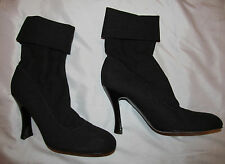 SERGIO ROSSI dark gray stretchy fabric ankle fold over cuff high heel boots 8.5