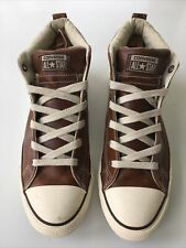 Converse All-Star Leather Hi-Top Men's size 11 Brown w/ Off White Sole