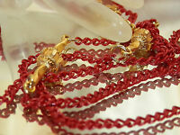 Pretty Vintage 1970's Red Enamel And Gold Tone Necklace 61J6