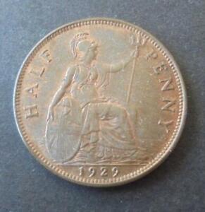 1929 Half Penny Coin High Grade