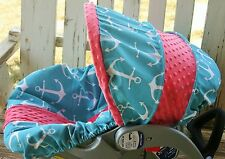 infant car seat cover and hood teal and white anchors with coral minky