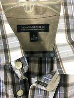 Banana Republic Soft Wash Tailored Slim Fit Shirt Men's Size Large Brown Plaid