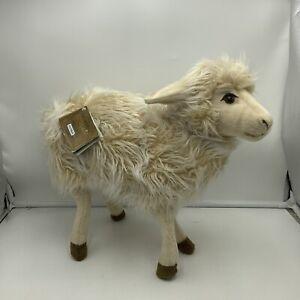 Hansa White Mama Sheep Fur Soft Stuffed Animal Plush Stands Realistic Toy Tags