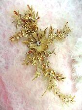 "Embroidered 3D Applique Gold Floral Sequin Ballet Patch 14"" (DH70)"