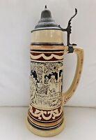 Antique German Beer Stein 1.5 Liter Pewter Lid