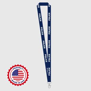 Premium Quality Blue & White POLICE  Lanyard Law Enforcement NEW!