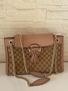 GUCCI Monogram Large Emily Chain Shoulder Bag Light Pink