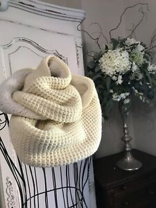 Superdry Cream Knitted Snood Scarf with Mock Sheepskin Interior
