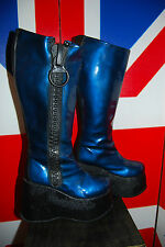 Blue Patent LEATHER Ultravioleta Platform Cyber Knee High Boots RARE VTG 6.5 40