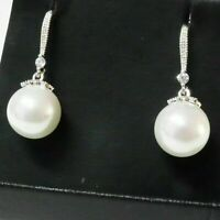 Sparkling Round White Pearl Earring Drop/Dangle Women Jewelry 14K Gold Plated