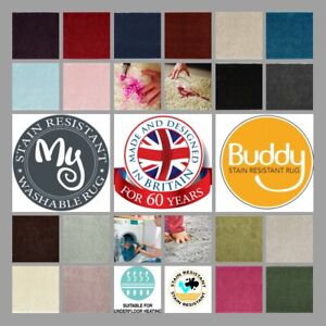 BUDDY MY RUG Patterned 19 Colours 7 Sizes Stain Resistant Runner Circle Mats