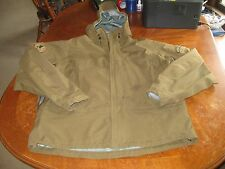 Tactical Jacket w MOLON LABE Patch Full Zip Brown Rare Hunting Hood Waterproof L