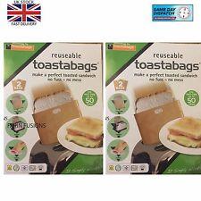 4 Reusable Toast Bags Toaster Sandwich Pockets Toaster Toasty Toastabags  new
