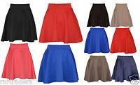 Skater Belted Stretch Waist Plain Flippy Flared Short Skirt Womens, Ladies-pnt