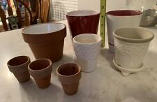 Lot 8 Small Pot Flower Planters Orchid Ceramic Clay Painted Succulents Footed