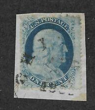 US 1857-61 Scott 24 Type Va 1 cent blue Franklin perf on paper Ohio cancel! |