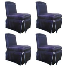 Connoisseur 'Onassis' Designer Exotic Woven Horsehair & Leather Slipper Chairs