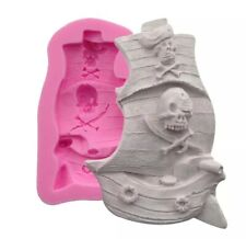 PIRATE SHIP SILICONE MOULD/MOLD-ICING/CAKE DECORATION/BOAT-SKULL/CROSSBONE FLAG