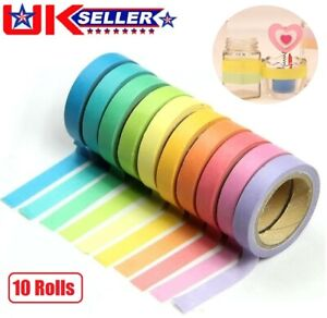 10Pcs Rainbow Washi Tape Decorative Adhesive Sticky Paper Masking Trim DIY Craft
